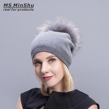 Ms.MinShu Knit Cashmere Beanie Fur Pompom Fashion Women Cap With Big Fur Ball Winter Raccoon Fox Fur Bobble Hat Elastic Wool Cap