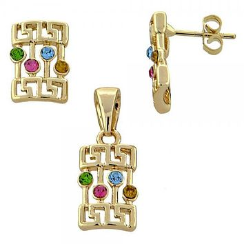 Gold Layered 5.052.011 Earring and Pendant Adult Set, Greek Key Design, with  Crystal, Gold Tone