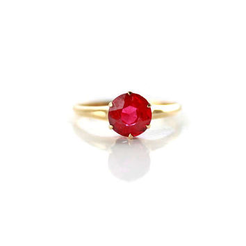 Antique 14k Yellow Gold Synthetic Ruby Solitaire Ring Size 8.5