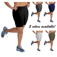 Women's Plus Size Mid-Thigh Cotton Bike Shorts (1X, 2X, 3X, 4X, 5X)