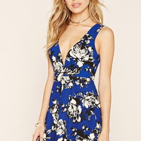 Deep-V Floral Mini Skater Dress