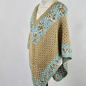 Brown and Seafoam Poncho Shawl - Granny Square Stitch - Sweater - Wrap