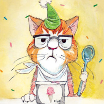 Ice Cream Kitty Birthday Card