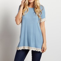 Blue-Solid-Crochet-Trim-Short-Sleeve-Top