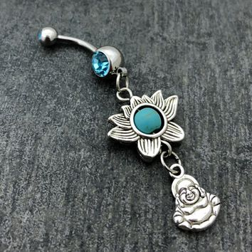 Buddha & Lotus Flower 14 gauge stainless steel belly button navel ring, body jewelry, 14g