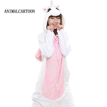Panda Stitch Unicorn Unisex Flannel Hoodie Pajamas Sets Costume Cosplay Animal Onesuits Sleepwear pajama for women Pyjama