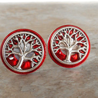 cufflinks: tree of life - red - anniversary gift - boyfriend gift - celtic cufflinks - best man gift - mens jewelry - wiccan wedding