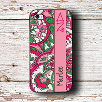 Delta Zeta phone case, fits iPhone 4/4s/5/5s/5c - Rose and green paisley print - personalized sorority gift, DZ big and little (1212)