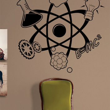 Science Atom Design Decal Sticker Wall Vinyl Art Home Room Decor Teacher School Educational Classroom