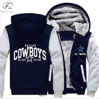 Dallas Cowboys Hoodie Zipper Fleece Thicken Jacket Sweatshirts Coat-Go Cowboys