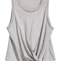 Top with tie detail - Grey marl - Ladies | H&M GB