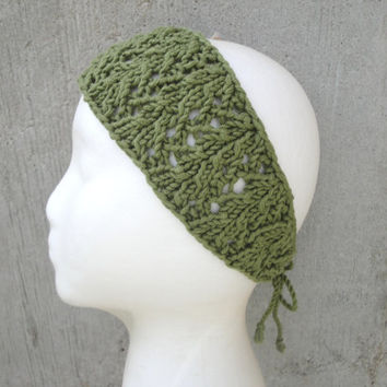Olive Green Headband, Tie Back, Organic Cotton, Wide Knit Lace Headband, Bandana, Moss/Army