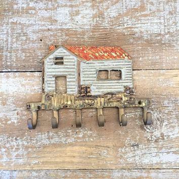 Key Hook Brass and Enamel Wall Hook Brass Farmhouse Kitchen Hook Brass Key Hook Utensil Hooks Tea Towel Hook Farmhouse Chic Pot Holder Hook