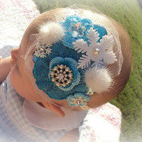50% OFF SALE Frozen Inspired Baby Infant Newborn Headband Hair Bow Photo Prop Disney Snowflake Snow Ice Princess Christmas Winter Holiday Bl