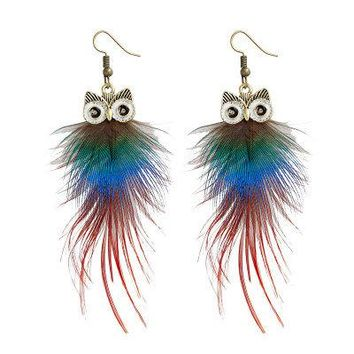 Cute Women Earrings Owl Colorful Feather Earrings