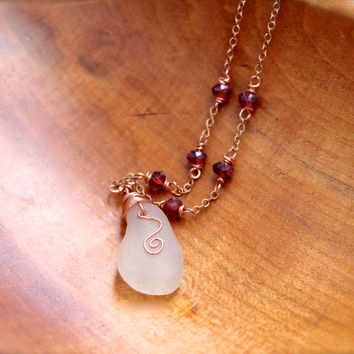Seaglass Jewelry from Hawaii by Mermaid Tears, Sea Glass Necklace, Beach Glass Jewelry, Garnet Gemstone Necklace, Boho Jewelry, Bohemian