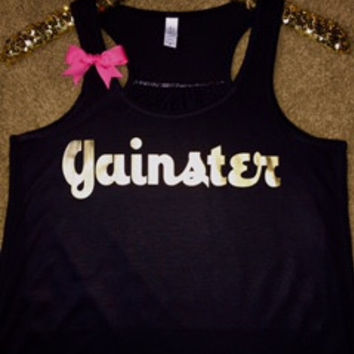 Gainster - Ruffles with Love - Racerback Tank - Womens Fitness - Workout Clothing - Workout Shirts with Sayings