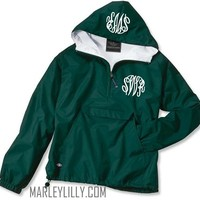 Monogrammed Forest Pullover Rain Jacket