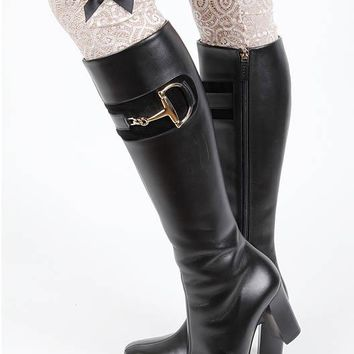 LEG WARMER LACE BOOT TOPPER SATIN BOW