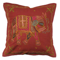 Red Golden Thread Embroidered Elephant Cotton Toss Pillow