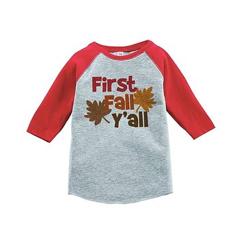 Custom Party Shop Baby's First Fall Y'all Red Raglan