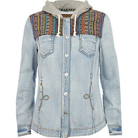 Blue hooded aztec panel denim shirt  - denim shirts - blouses / shirts - women