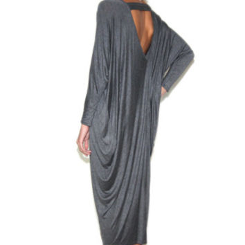 Grunge Draped Oversize Dress in Charcoal