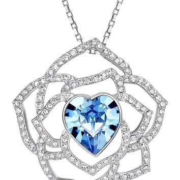 Heart, Flower Pendant Necklace Enriched with Swarovski Crystals