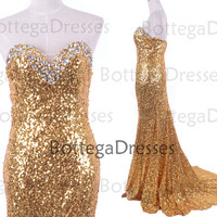 Mermaid Strapless Golden Sequined Long Prom Dresses, Sequined Evening Gown, Wedding Party Dresses