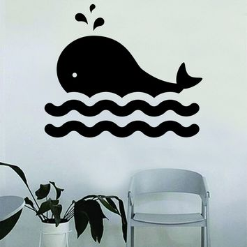 Whale Decal Sticker Wall Vinyl Decor Art Living Room Bedroom Kids Nursery Baby Teen Animal Ocean Beach Fish