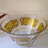 Mid Century Modern Gold Glass Ice Bowl with Teak and Metal Caddy Holder Carrier Barware