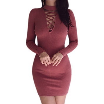 2016 Fashion Autumn Winter Knitted Bodycon Dress Long Sleeve Lace Up Bandage Sexy Plugging Sweater Dress Party Vestidos GV373