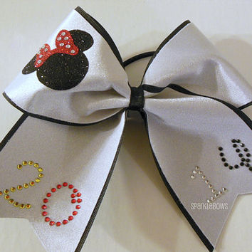 2014 Rhinestone Minnie Large Cheer Hair Bow Cheerleading