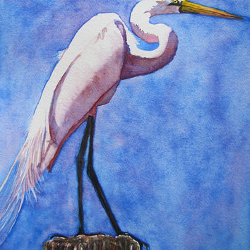 White Egret Beach Bird Painting, Shore Wildlife Art Print of Original Watercolor, Tropical Heron Home Decor Gift, Etsy, Barbara Rosenzweig