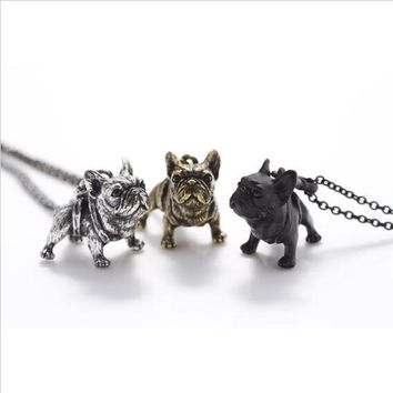 Shuangshuo Boho Hippie Vintage French Bulldog Necklace Women Lovely Puppy Bull Dog Statement Necklace for Women Fashion Jewelry