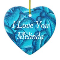 Blue Personalized I Love You Heart Pendant Ceramic Ornament