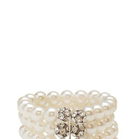 FOREVER 21 Stacked Faux Pearl Bracelet Silver/Clear One