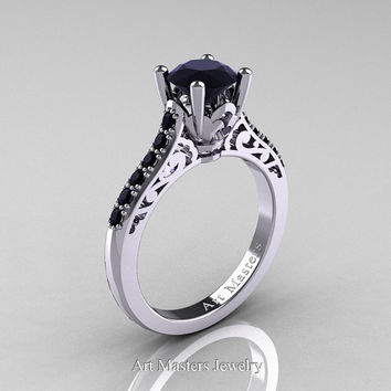 Classic French 14K White Gold 1.0 Carat Black Diamond Solitaire Wedding Ring R701-14KWGBDD