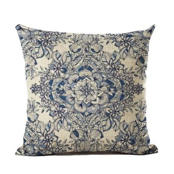 "18"" New Bohemian Style Cotton Linen Pillow Case Vintage Geometric Chair Seat and Waist Square Pillow Cover Home Garden Textile"