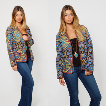 Vintage 80s ETHNIC Quilted Jacket Boho Blazer REVERSIBLE Jacket Hippie Blazer Cotton PRINTED Jacket