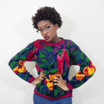 Multicolored Garden-Print Sweater // 80s // Boho // Vintage
