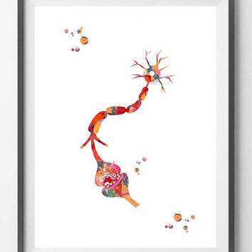 Neuron and Receptor Watercolor Print Brain Synapse print Neurotransmitter Connection poster human receptor anatomy medical art Neuroscience