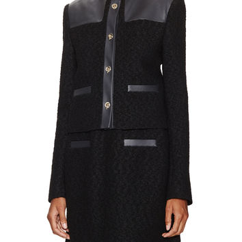 Jason Wu Women's Leather Contrast Boucle Cardigan Jacket - Black -