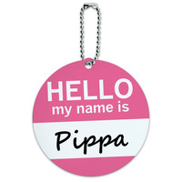 Pippa Hello My Name Is Round ID Card Luggage Tag
