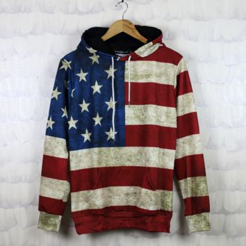 Retro Unisex Lover's Long Sleeve American Flag Printed Hoodies Sweater