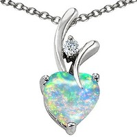 Star K 8mm Heart Shape Simulated Opal Pendant Sterling Silver