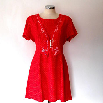 Candy red polka dot tea dress / pearl button / embroidered / vintage / 1940s style / short sleeve / tie / flared skirt / waistcoat dress
