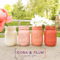 Coral Ombré Shabby Chic Painted Mason Jars Wedding Centerpieces Baby Bridal Shower Country Wedding Home Decor Gender Reveal