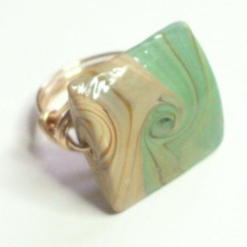 Green Brown Tan Ceramic Gold Wire Wrapped Ring