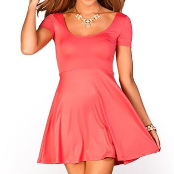 Brynn Coral ALine Empire Waist Casual Short Sleeve Dress